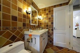 美式风格浪漫橙色卫生间装修图