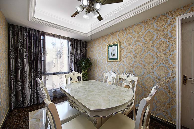 欧式风格轻奢米色餐厅装修图片