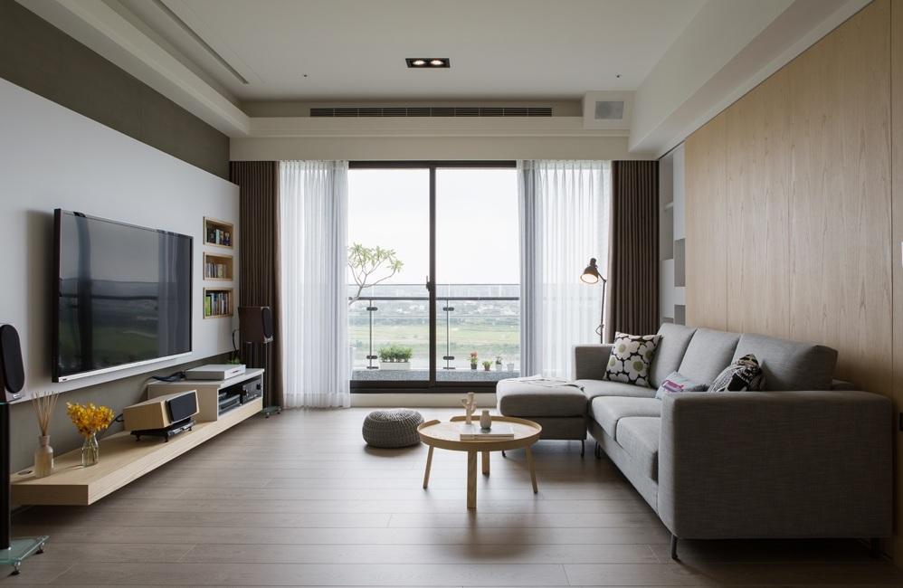 米色简约风格日系客厅装修布置