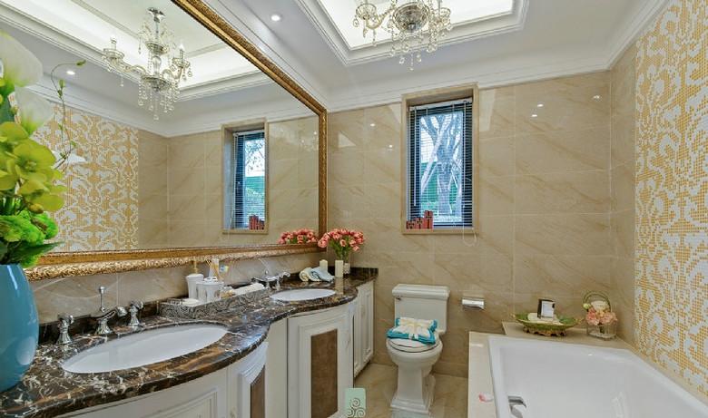 欧式风格轻奢米色卫生间效果图