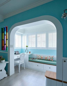 蓝色地中海书房飘窗设计图片