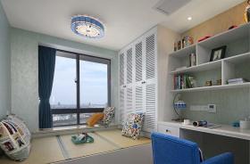 地中海风格白色书房榻榻米效果图设计