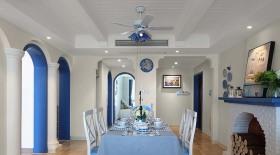 蓝色地中海风格餐厅装潢案例