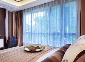 米色东南亚卧室窗帘设计欣赏