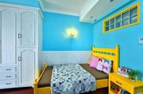 田园风格蓝色卧室图片