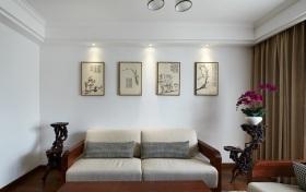 白色中式风格客厅沙发背景墙设计