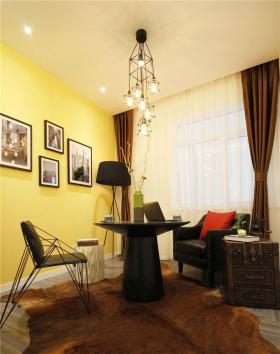 混搭风格黄色书房窗帘装潢