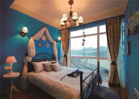 2016蓝色浪漫地中海风格卧室装修效果图片