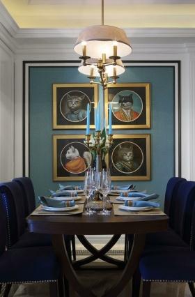 新古典风格蓝色典雅餐厅设计图