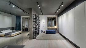 灰色现代风格卧室客厅隔断装饰案例
