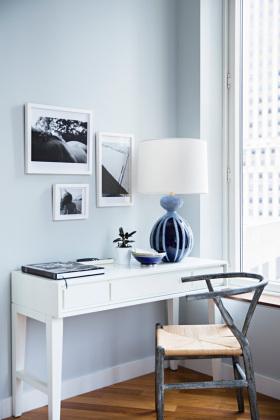 蓝色简约风格书房设计欣赏