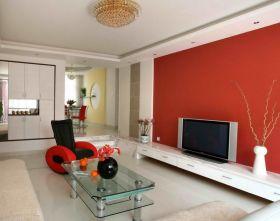 现代风格个性红色背景墙装修设计
