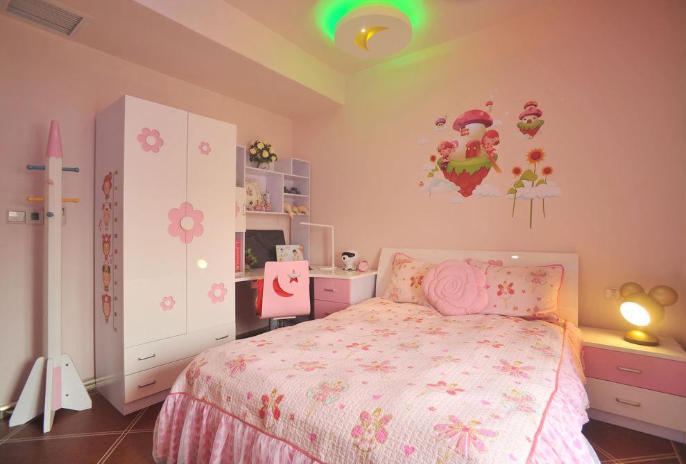 现代风格粉色儿童房装修图