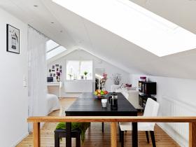 白色精致现代风格清新阁楼设计图片