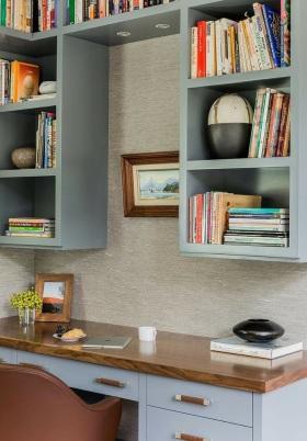 蓝色宜家风格书房书柜装潢设计