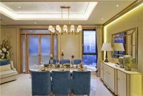 蓝色欧式风格餐厅装修案例