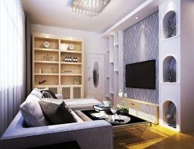 紫色浪漫现代风格客厅装修效果图片