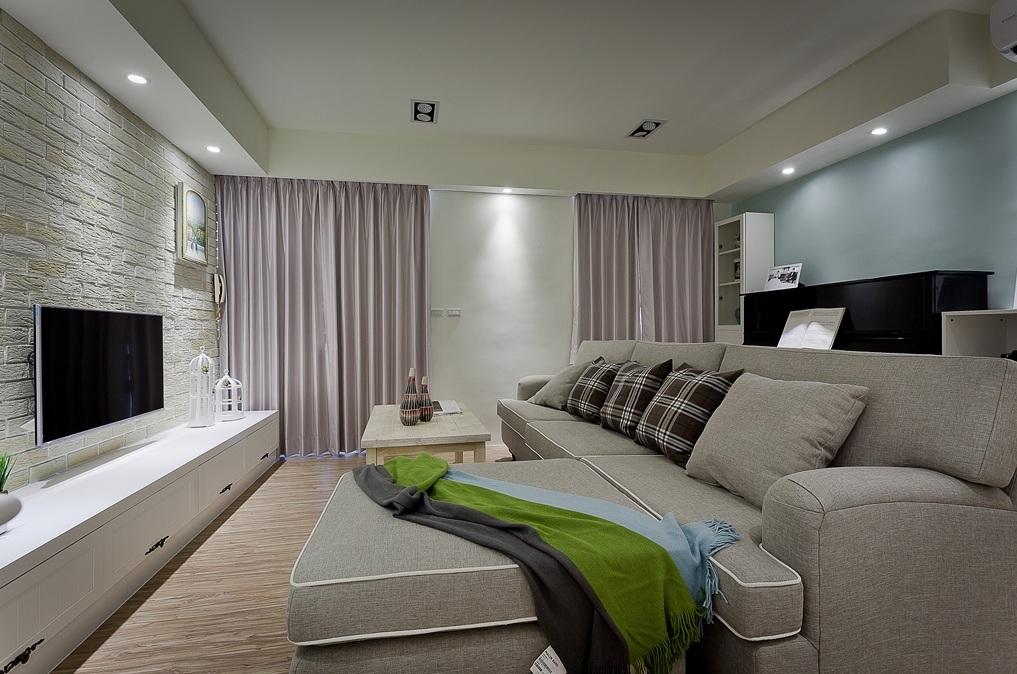 简约风格素雅米色客厅装修设计2016