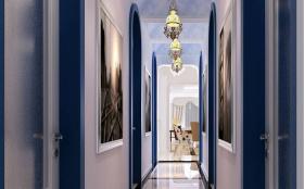 蓝色欧式风格玄关装潢设计