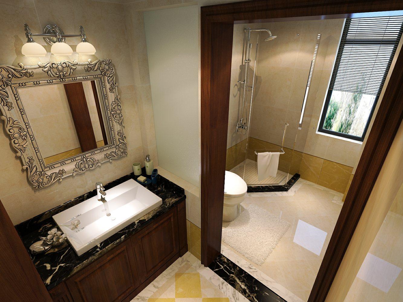 华丽精致欧式风格黄色卫生间图片欣赏