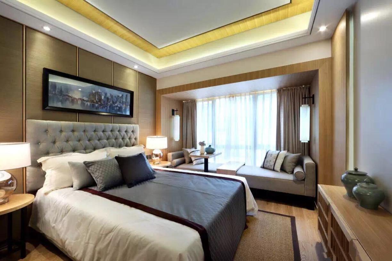 黄色新中式风格卧室飘窗效果图图片
