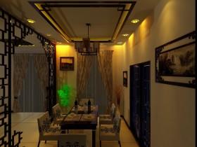 褐色中式风格餐厅吊顶装潢设计