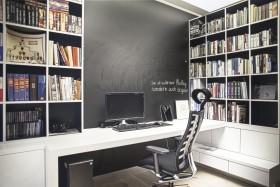 黑色简约书房装潢设计