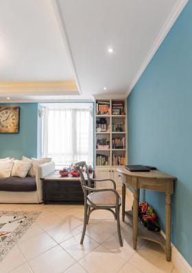 美式风格蓝色书房效果图欣赏