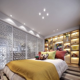 黄色中式风格卧室隔断图片欣赏