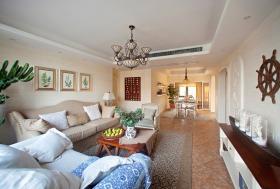 温馨唯美地中海风格米色客厅吊顶图片欣赏