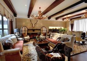 红色原木大气美式客厅吊顶装饰图