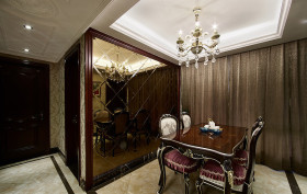 混搭风格褐色餐厅吊顶装修效果图片