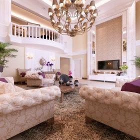 欧式粉色客厅吊顶美图欣赏