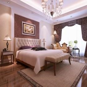 粉红色欧式风格卧室吊顶装饰图