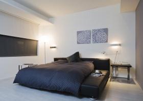 灰色极致简约文艺卧室效果图设计