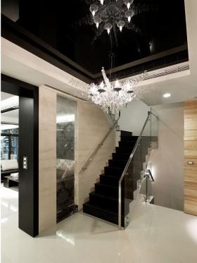 质感黑色现代风格楼梯装修图