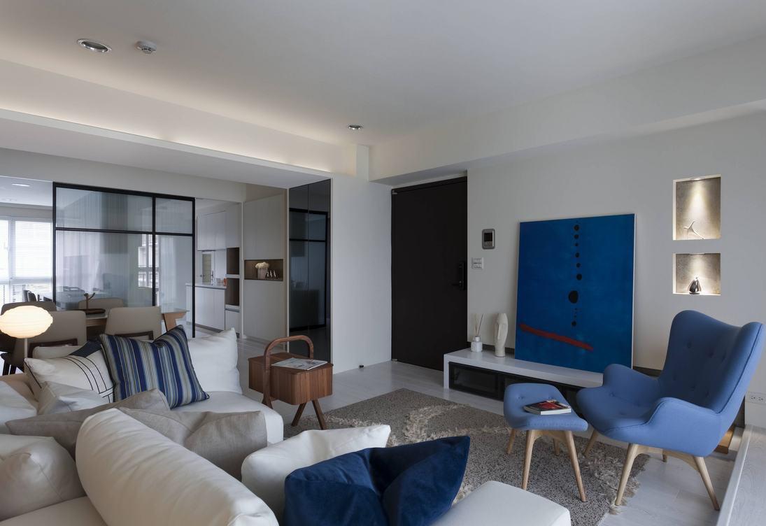 蓝色清新宜家风客厅装饰设计图片
