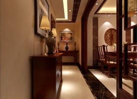 红色典雅中式风格玄关装修设计
