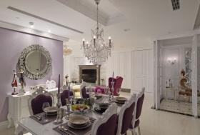 华丽精致欧式紫色餐厅吊顶美图