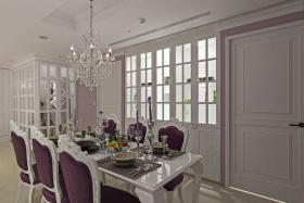 紫色浪漫欧式餐厅吊顶设计欣赏