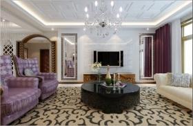 紫色欧式风格客厅背景墙图片赏析