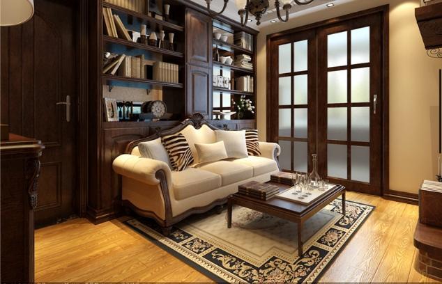 美式风格质感原木色客厅装修案例