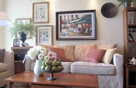 粉色美式风格客厅图片欣赏