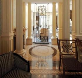橙色欧式风格客厅玄关装潢设计