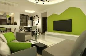 绿色简约宜家风格客厅装修案例