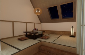 日式简约风格阁楼榻榻米设计赏析