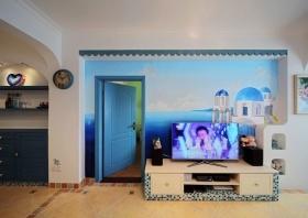 地中海式蓝色客厅装修效果图