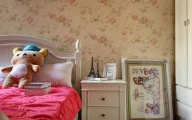 粉色简欧风格儿童房壁纸装修图