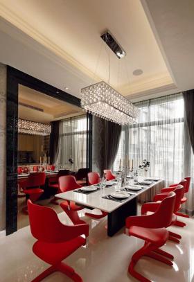 红色现代风格餐厅装修效果图