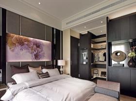 温馨时尚灰色简约卧室衣柜设计图片